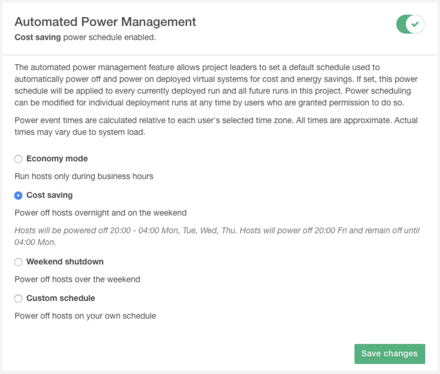 Cost Saving Power Management Setting